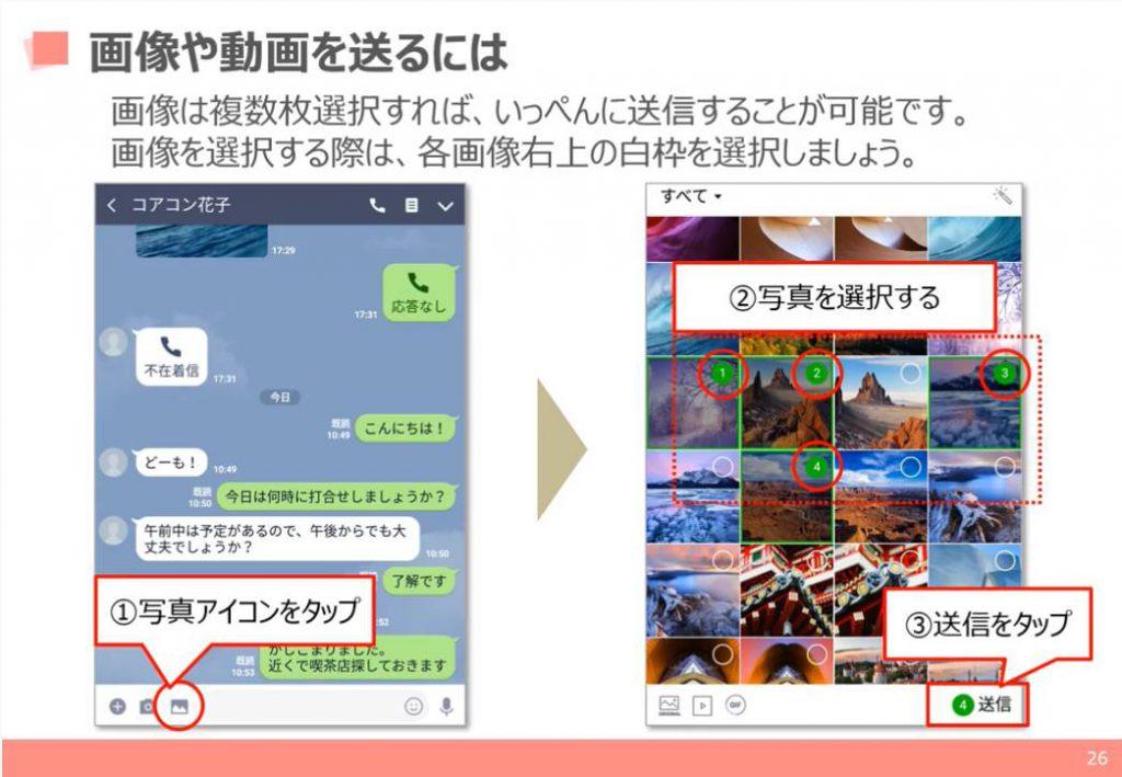 LINEの使い方:画像や動画の送信方法