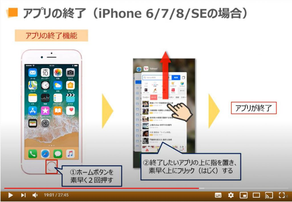 アプリの終了(iPhone 6, iPhone 7, iPhone 8, iPhone SEの場合)