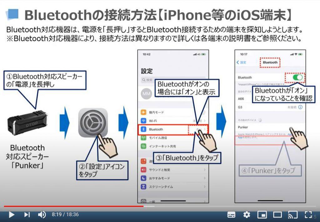 Bluetoothの接続方法(iPhone等のiOS端末)