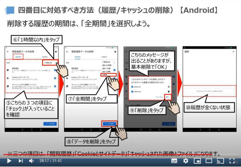 不具合時の対処方法:4番最初に対処すべき方法(履歴及びキャッシュの削除)Chromeアプリの場合・android端末の場合