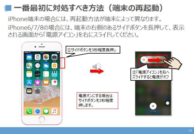 不具合時の対処方法:1番最初に対処すべき方法(再起動)iPhone8以前