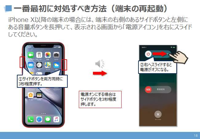 不具合時の対処方法:1番最初に対処すべき方法(再起動)iPhone X以降