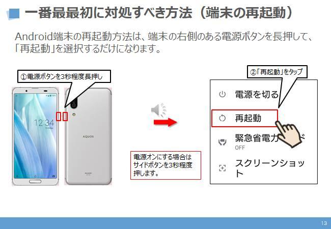 不具合時の対処方法:1番最初に対処すべき方法(再起動)android端末