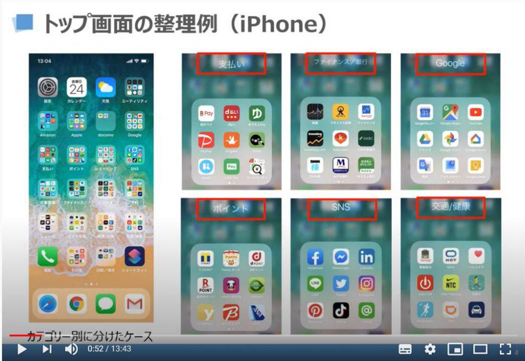 トップ画面の整理例(iPhone)