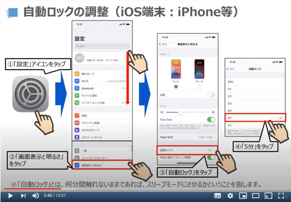 自動ロックの調整(iPhone等のiOS端末)
