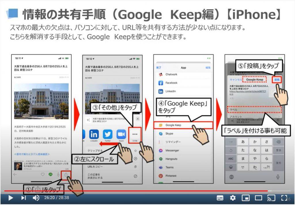 情報の共有方法(Google Keep)iPhone等のiOS端末の場合