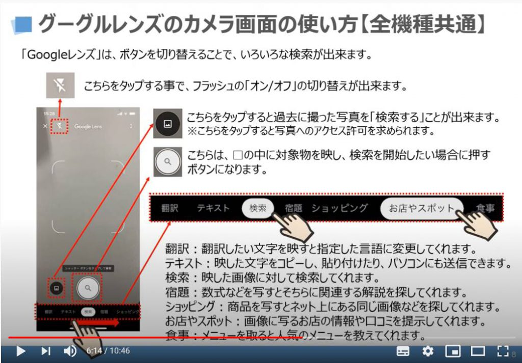 グーグルレンズのカメラ画面の使い方(全機種共通)
