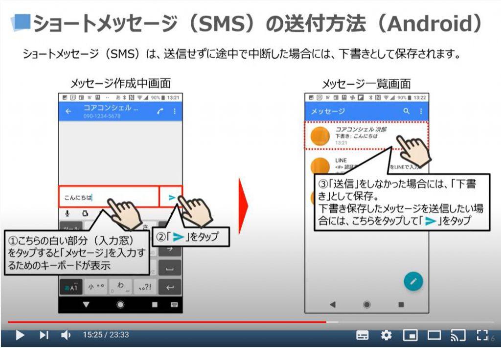 ショートメッセージ(SMS)の送信方法(Androidの場合)