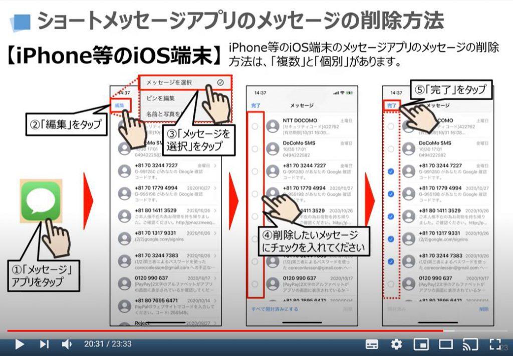 ショートメッセージの削除方法(iPhoneの場合)