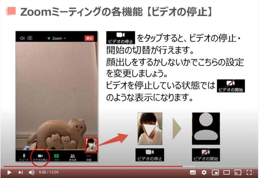 Zoom(ズーム)ミーティングの各機能:ビデオの停止