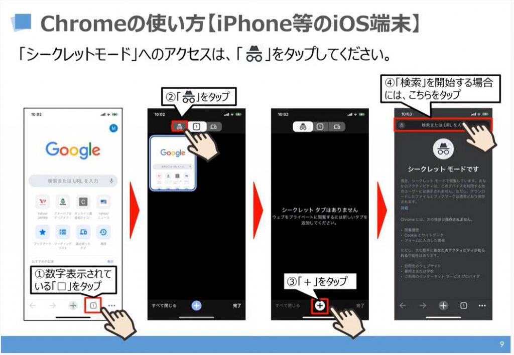 Chromeの使い方:シークレットモード(iPhone等のiOS端末)