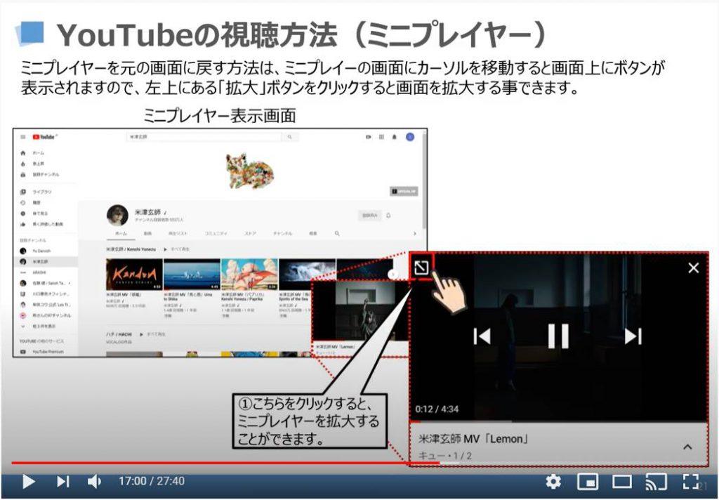 YouTubeの視聴方法(ミニプレイヤー)