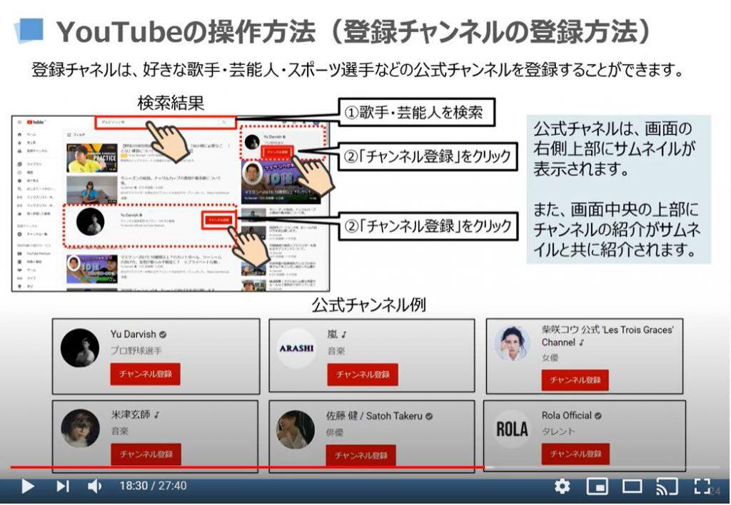 YouTubeの操作方法(登録チャンネルの登録方法)