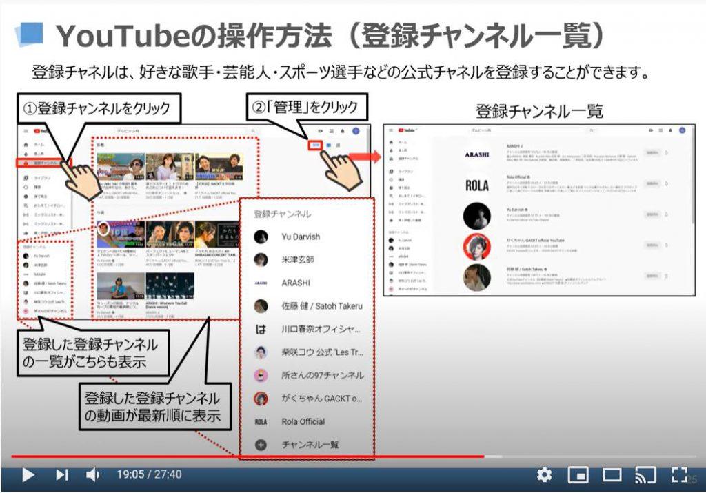 YouTubeの操作方法(登録チャンネル一覧)