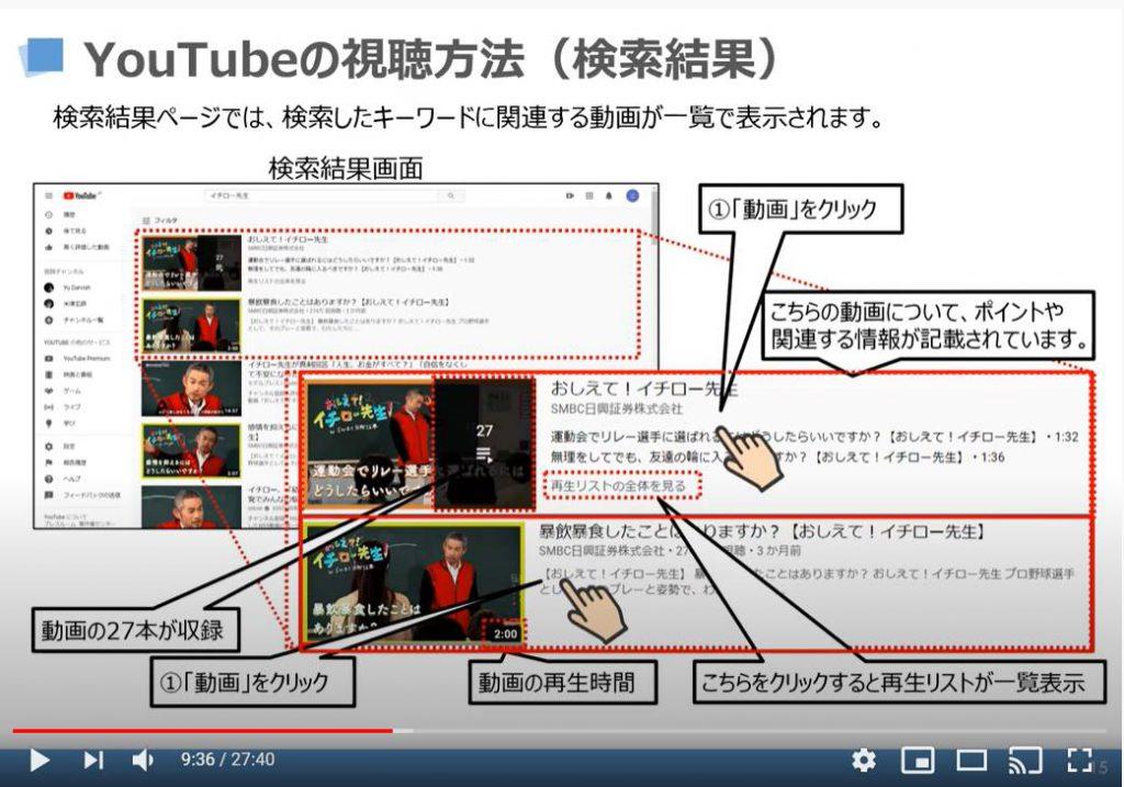 YouTubeの視聴方法(検索結果)