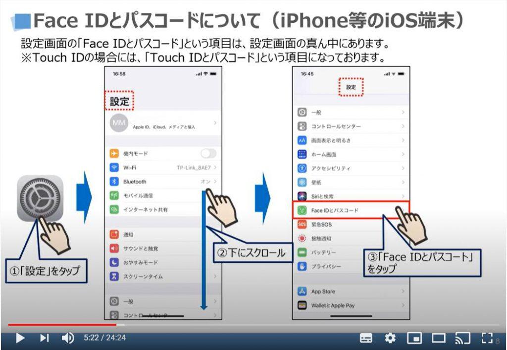 Face IDとパスコードについて(iPhone等のiOS端末の場合)