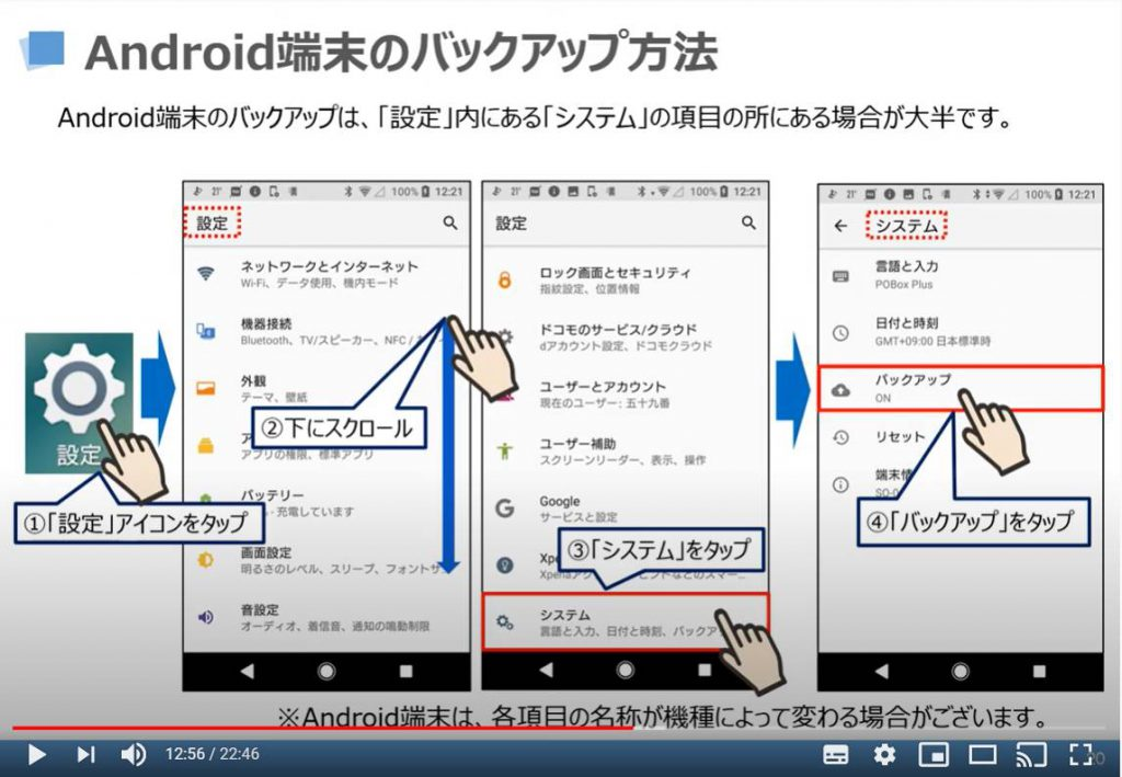 Android端末のバックアップ方法