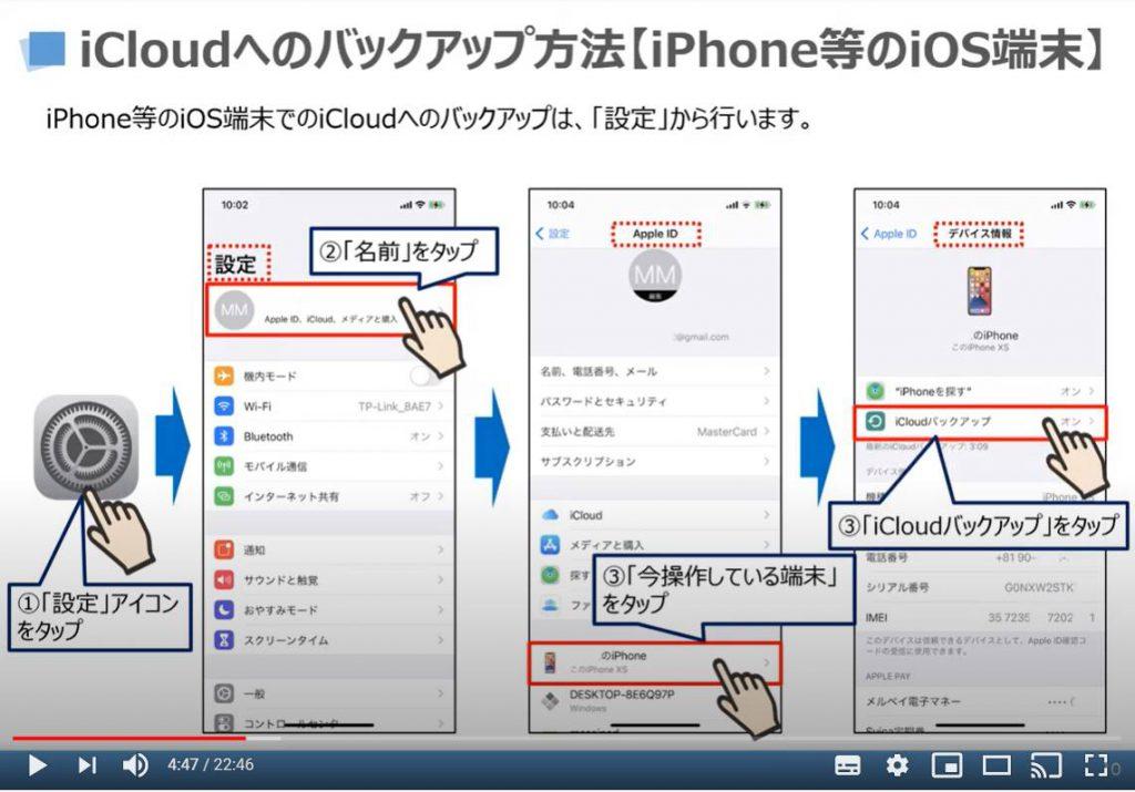 iCloudへのバックアップ方法(iPhone等のiOS端末の場合)