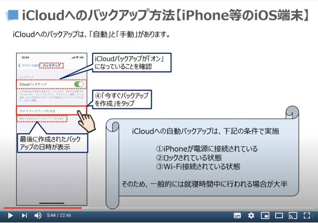 iCloudへのバックアップ方法(iPhone等のiOS端末)