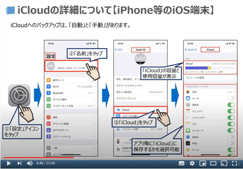 iCloudの詳細について(iPhone等のiOS端末)