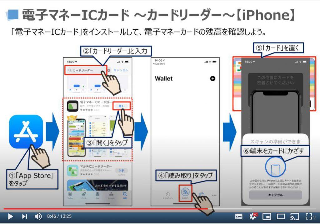 電子マネーICカード(カードリーダーアプリ)のインストール方法及び使い方(iPhoneの場合)