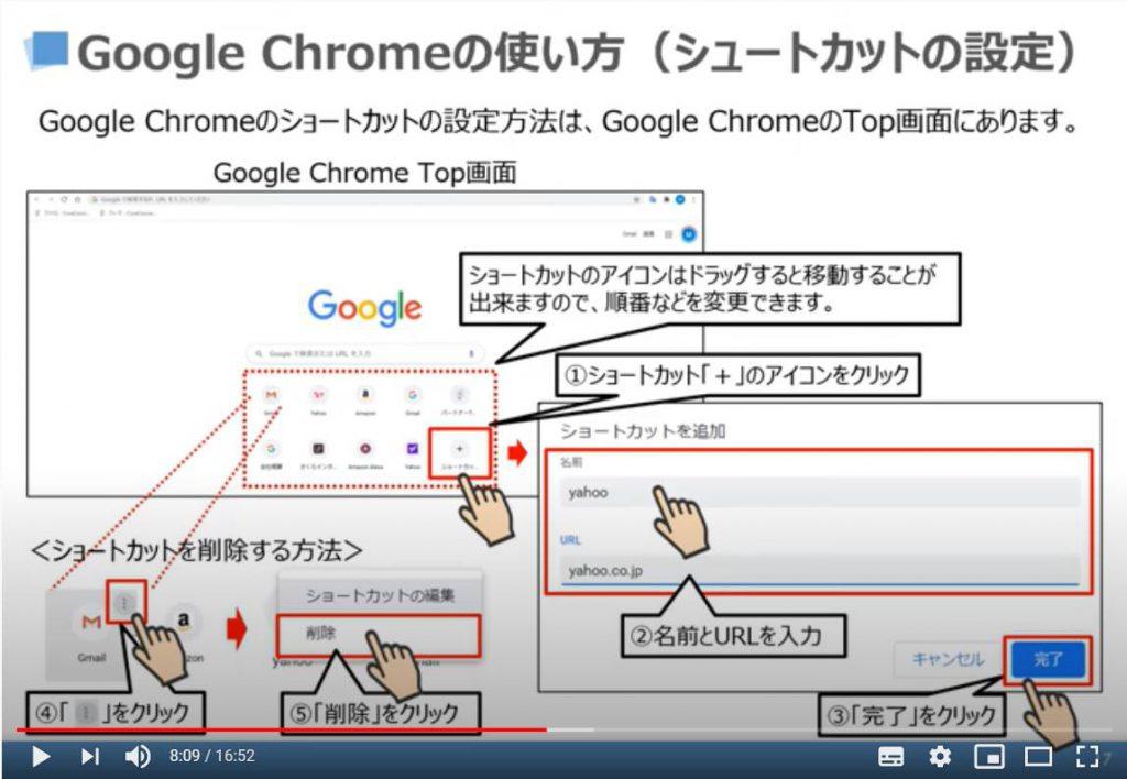 Google Chromeの使い方(ショートカットの設定)