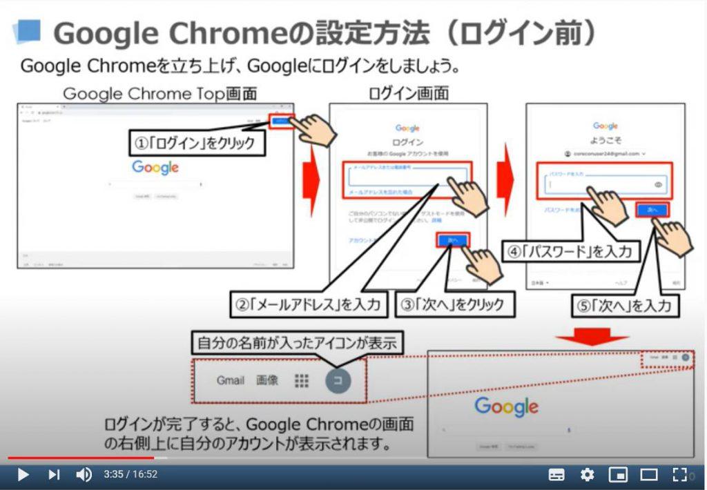 Google Chromeの設定方法(ログイン方法)