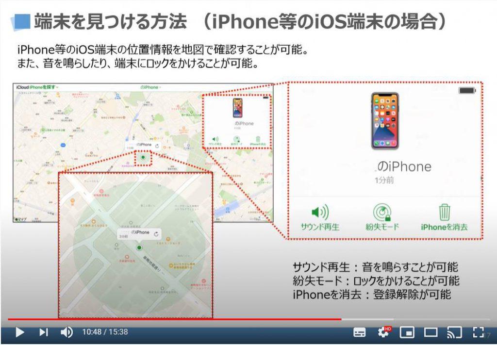 端末をみつける方法:位置情報の確認・サウンド再生・紛失モード・iPhoneの消去(iPhone等のiOS端末の場合)