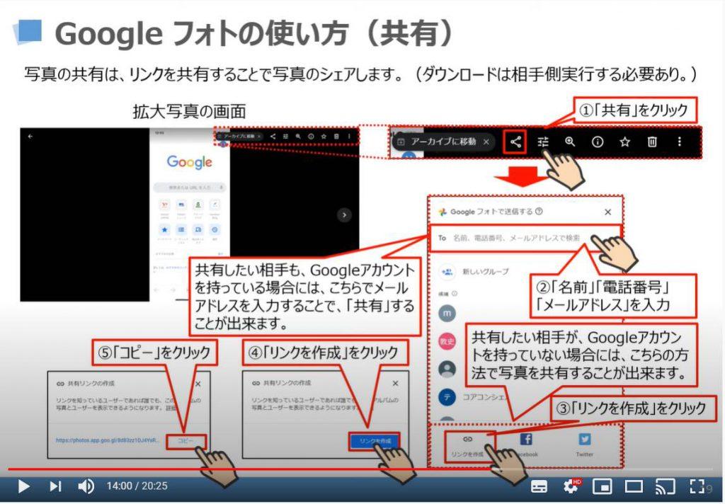 Googleフォトの使い方(共有方法)