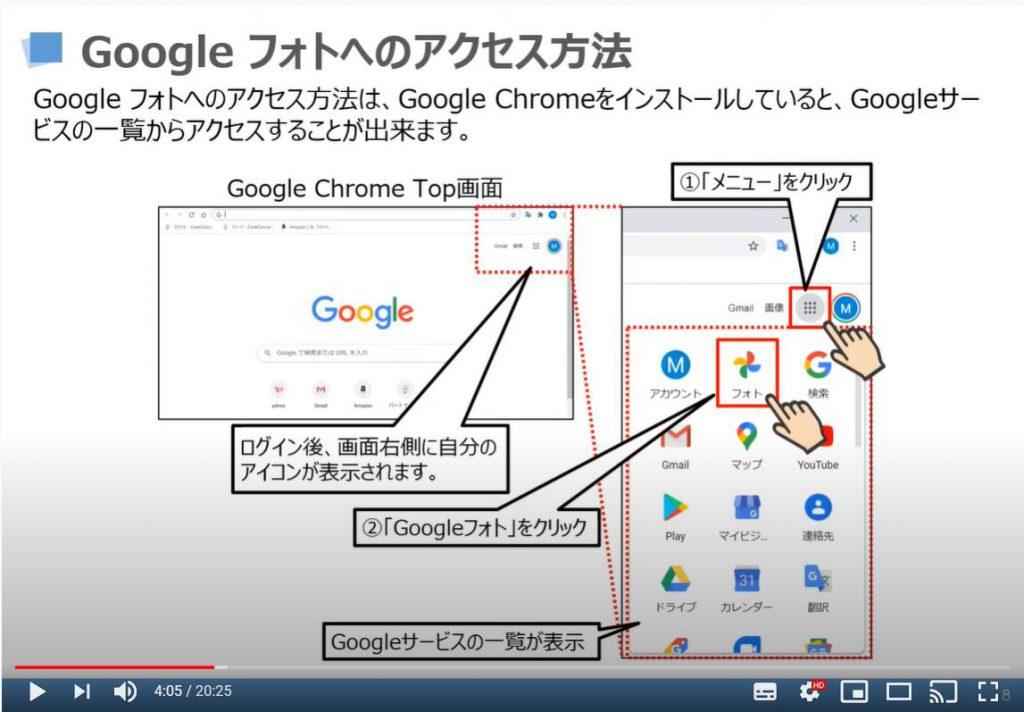 Googleフォトへのアクセス方法