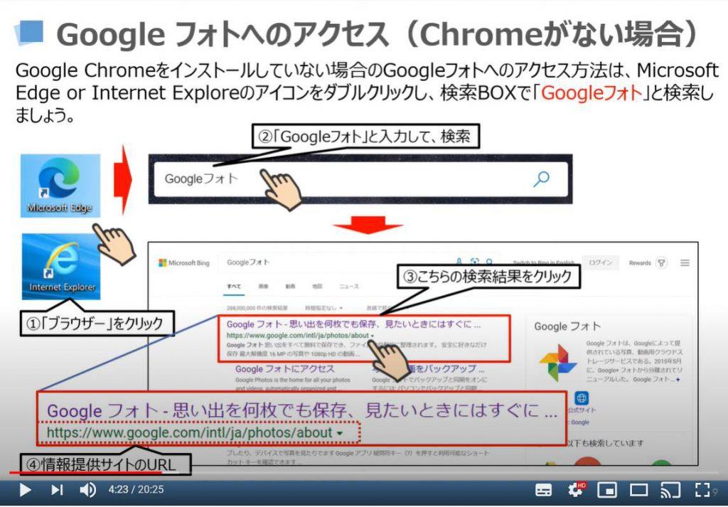 Googleフォトへのアクセス方法(Chromeがない場合)