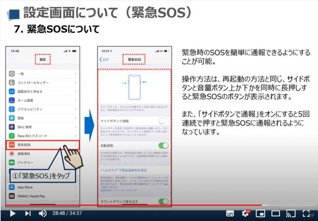 iPhone等のiOS端末の設定画面:緊急SOSについて