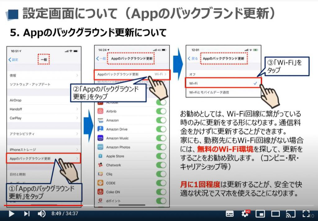 iPhone等のiOS端末の設定画面:Appのバックグラウンド更新について