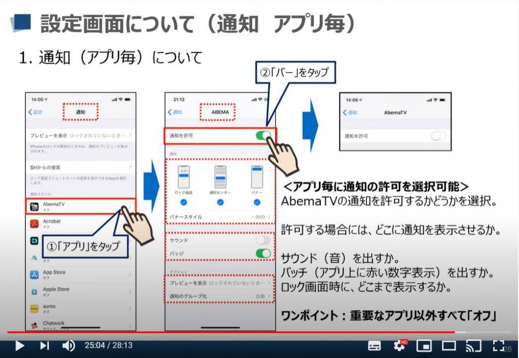 iPhone等のiOS端末の設定画面:通知(アプリ毎)について