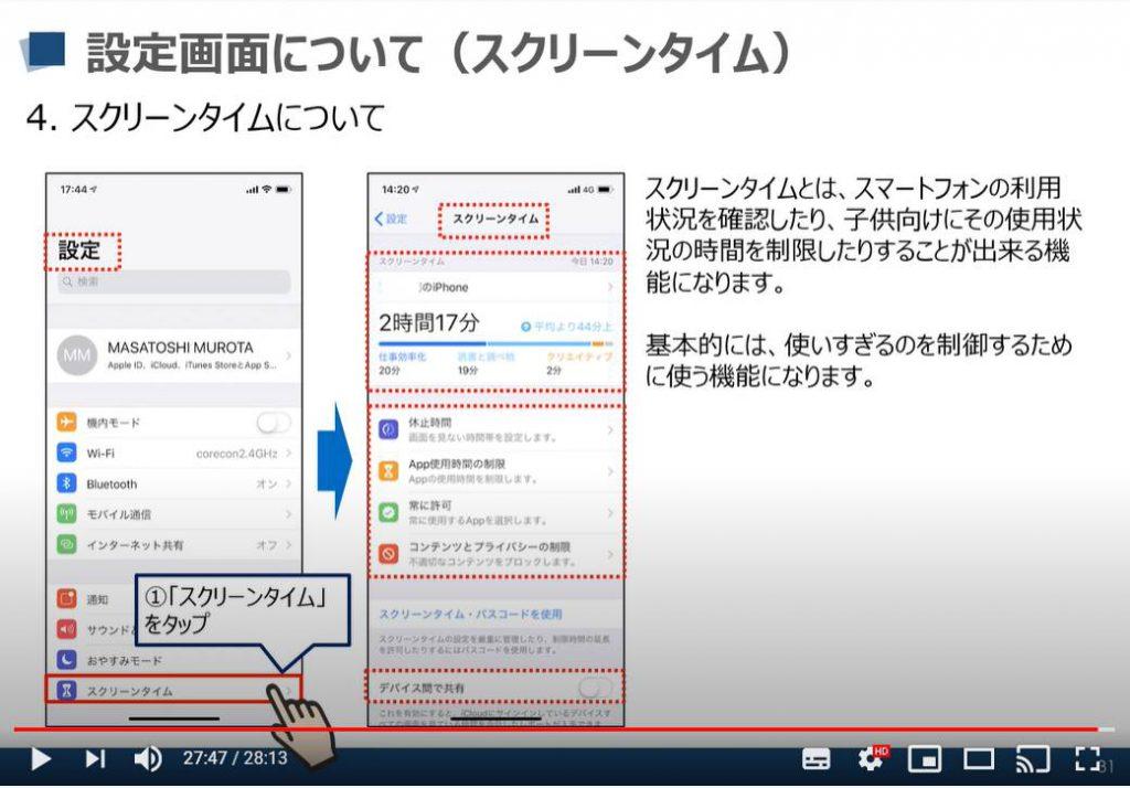 iPhone等のiOS端末の設定画面:スクリーンタイムについて