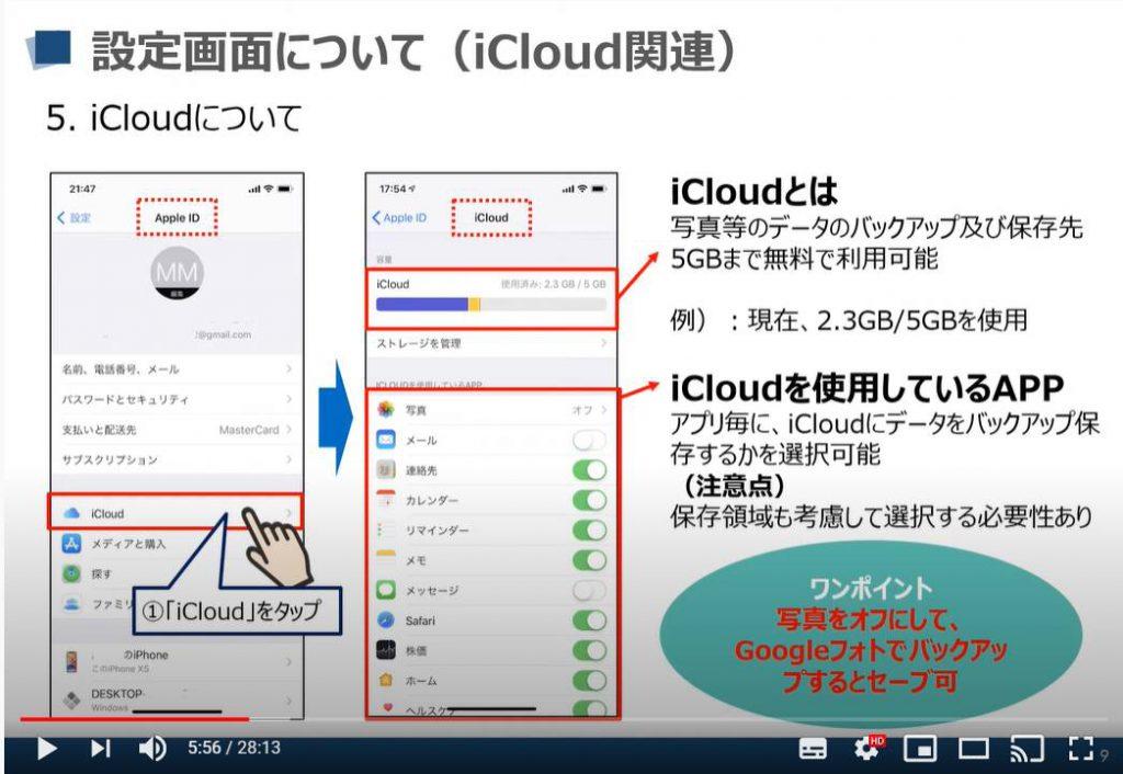 iPhone等のiOS端末の設定画面:iCloudについて