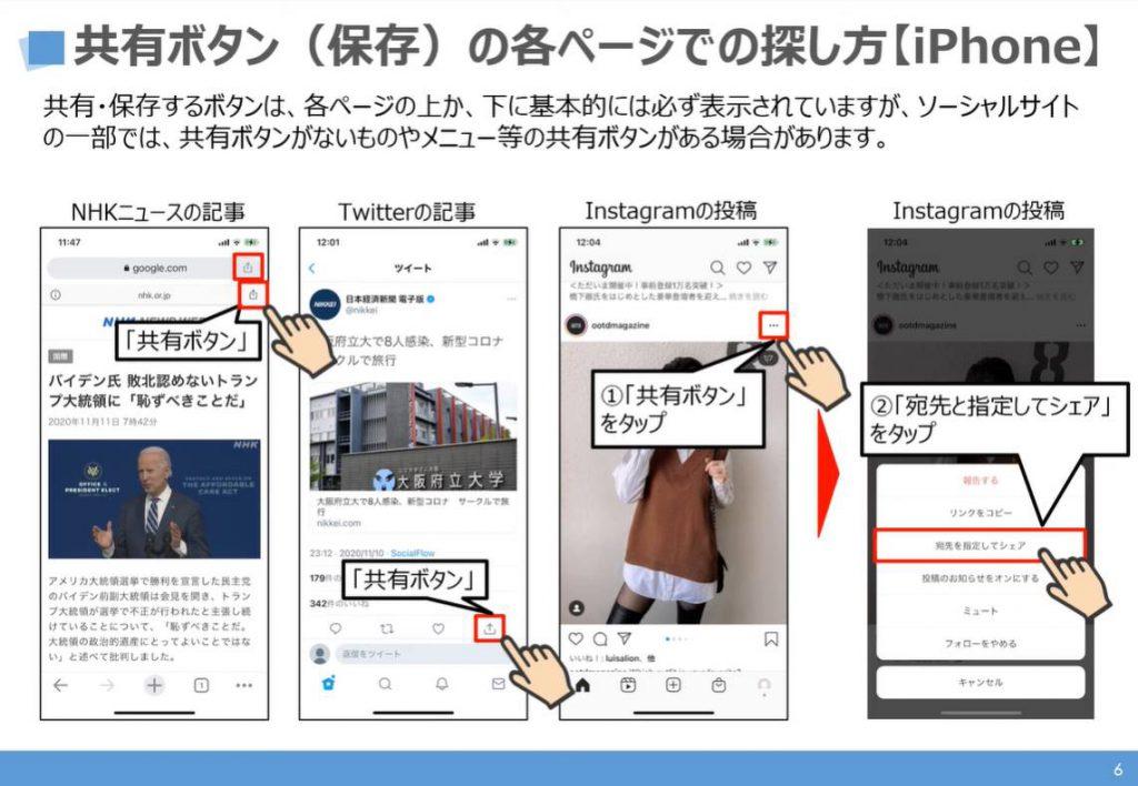 共有ボタンの探し方:iPhone等のiOS端末の場合