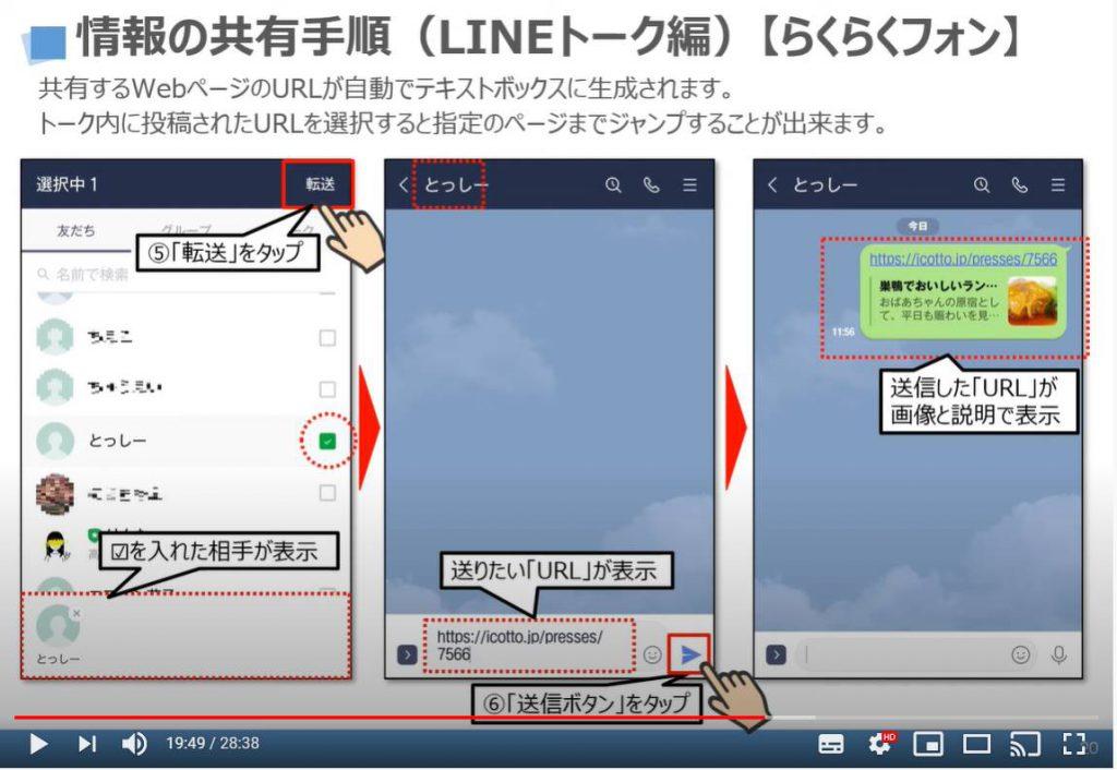 情報の共有方法(LINEトーク)らくらくフォンの場合