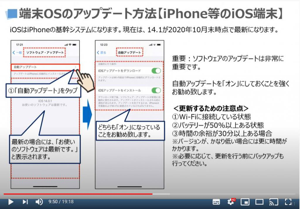 端末OSのアップデート方法(iPhone等のiOS端末の場合):自動アップデート