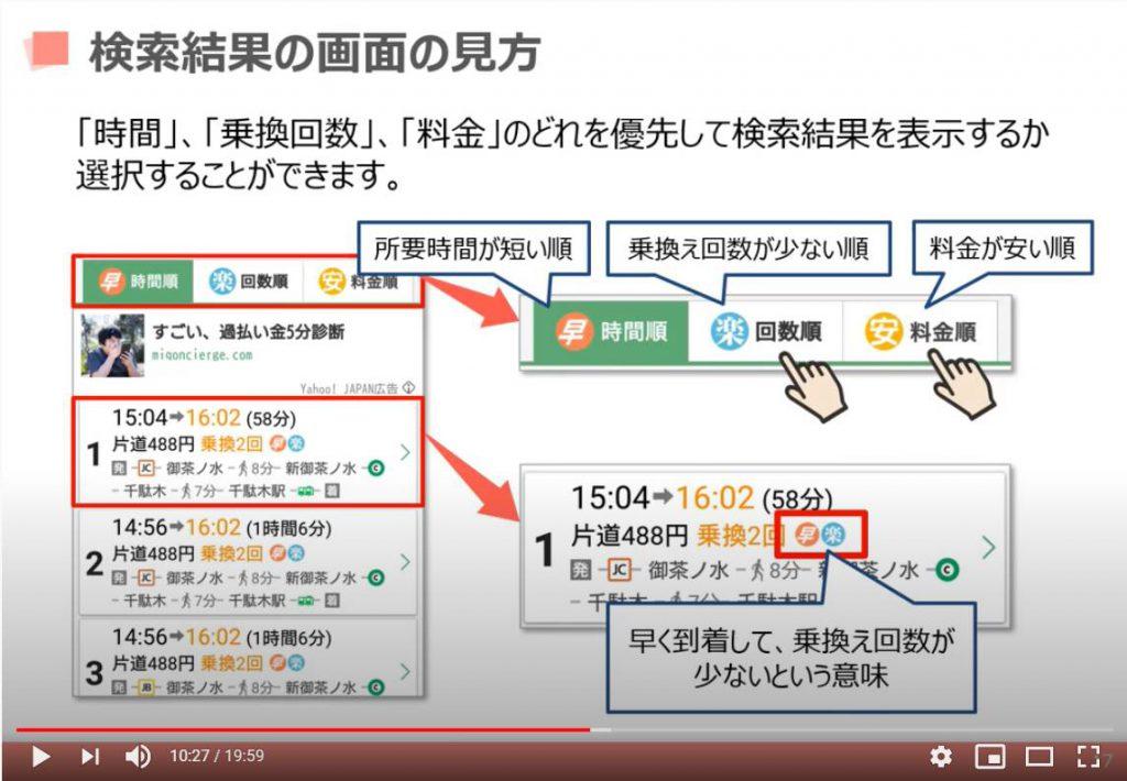 検索結果の画面の見方