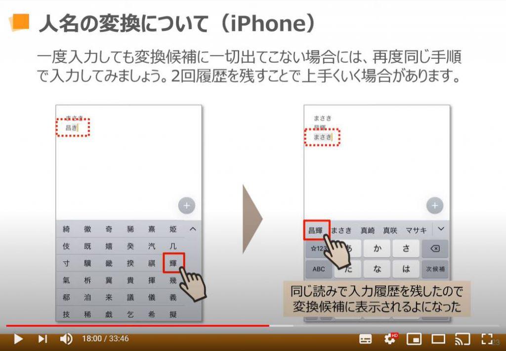 人名の変換について(iPhoneの場合)