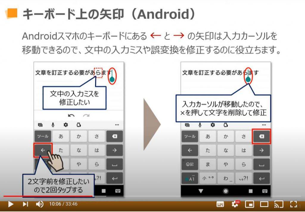 キーボード上の矢印(Android端末の場合)