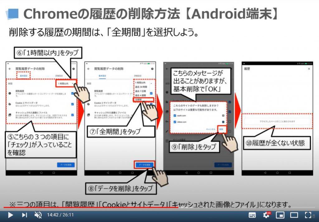 Chromeの閲覧履歴の削除方法(Android端末)