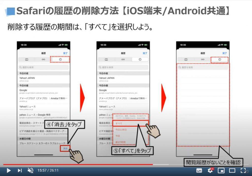 Safariの閲覧履歴の削除方法(iPhone等のiOS端末/Android端末共通)