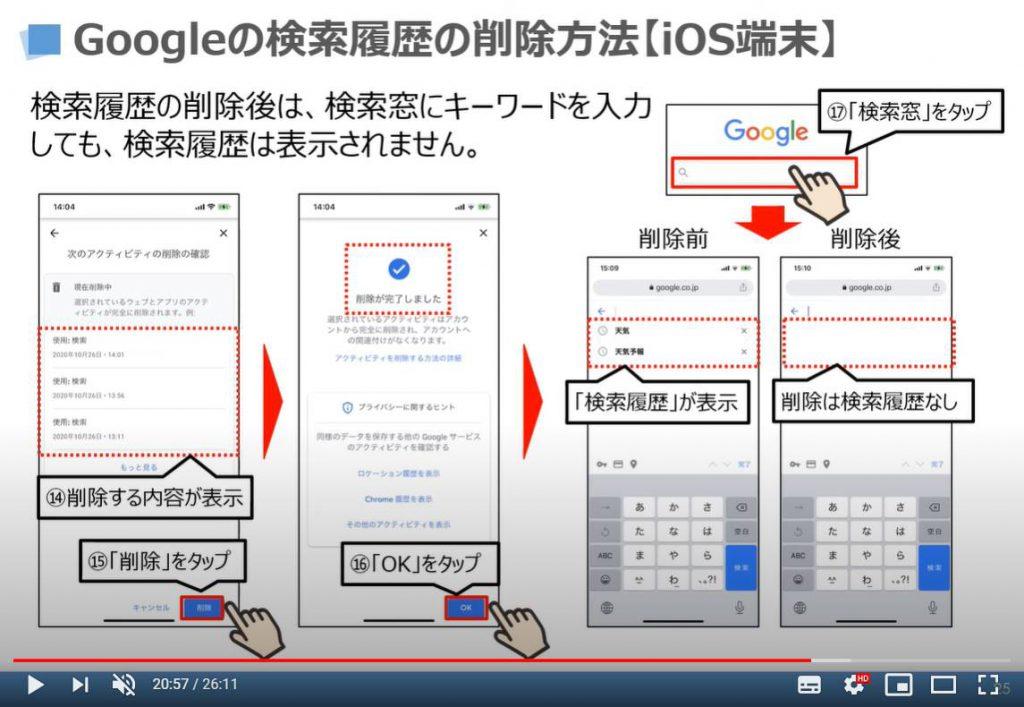 Googleの検索履歴の削除方法(iPhone等のiOS端末)