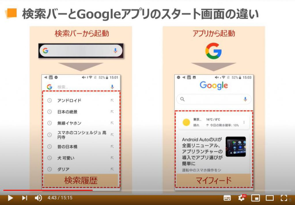 検索バーとGoogleアプリの画面の違い