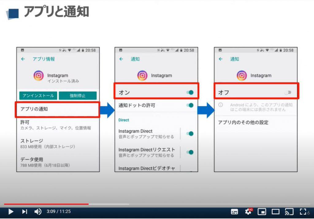 Androidスマホの設定画面:アプリと通知について