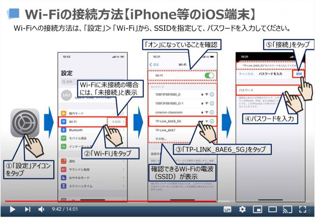 Wi-Fiの接続方法(iPhone等のiOS端末)
