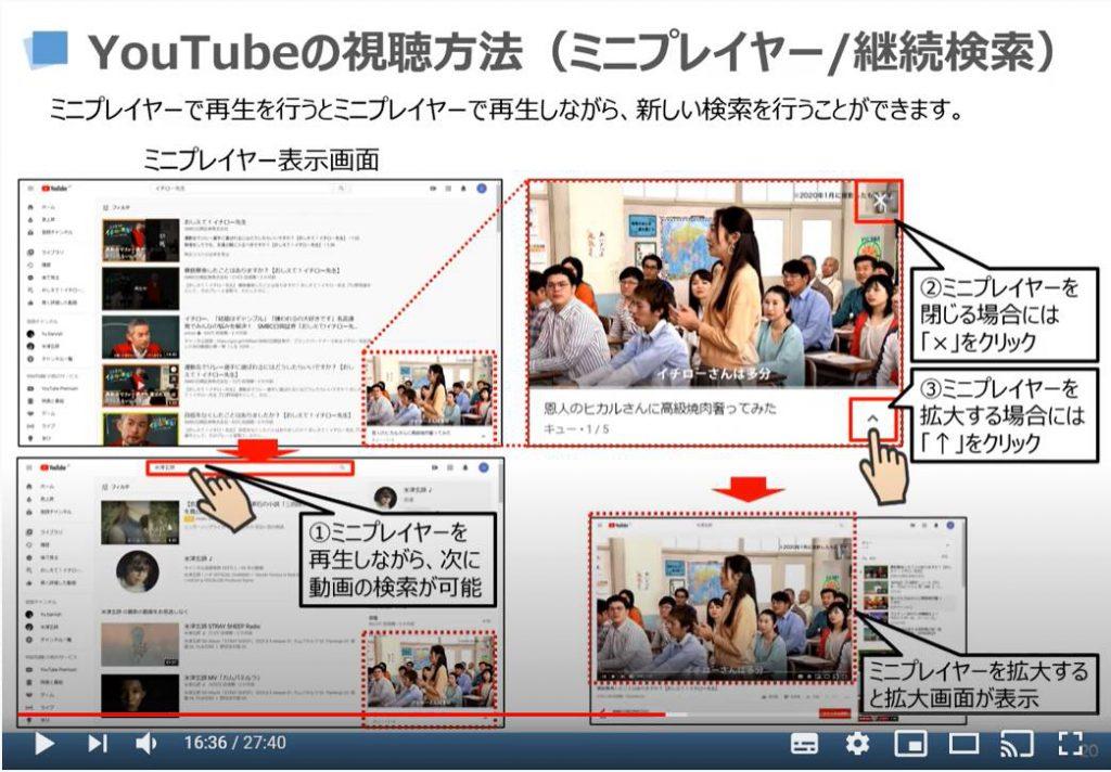 YouTubeの視聴方法(ミニプレイヤー/継続検索)