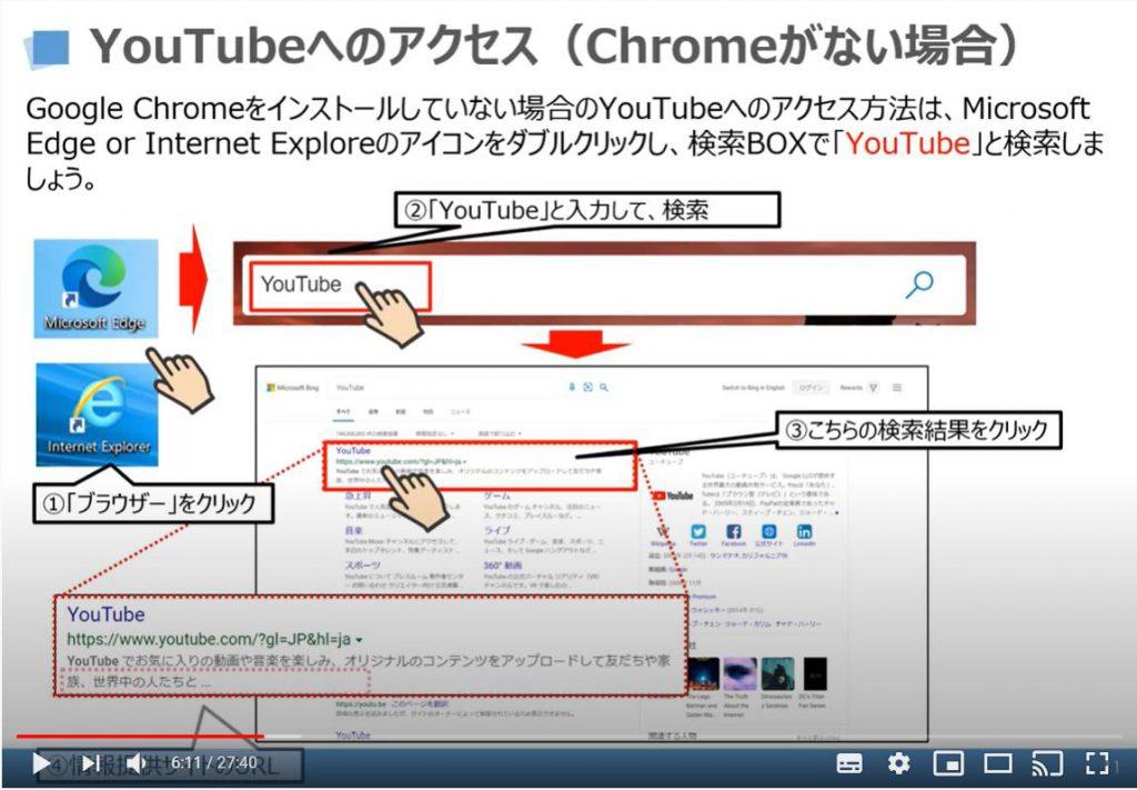 YouTubeへのアクセス(Chromeがない場合)